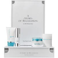 !QMS A Story of Relaxation Set = Relax-o-Firm Mask + Neck & More + Pearltouch + Sandalwood & Cedar Candle 4Artikel im Set