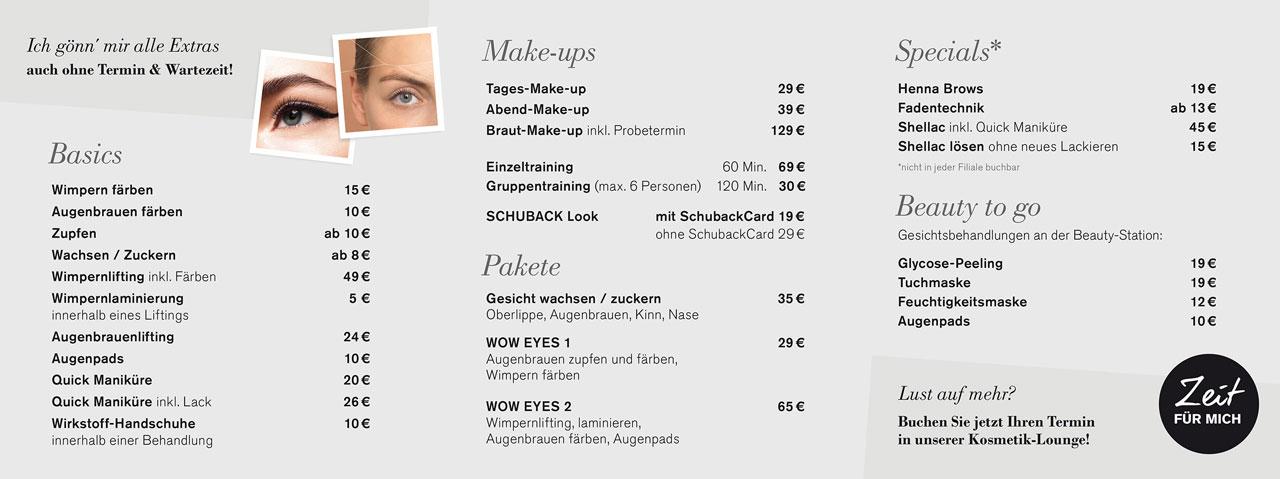 Schuback Beauty Stations Angebote und Preisliste